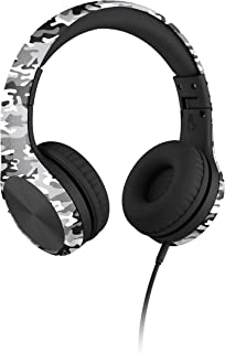 New! LilGadgets Connect+ PRO Kids Premium Volume Limited Wired Headphones with SharePort (Children) - Snow Camo