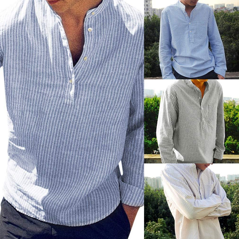 Camisa a Rayas para Hombre - Moda Manga Larga Loose Fit Camisas de Trabajo Hombres Primavera y Otoño Casual Shirts Tops