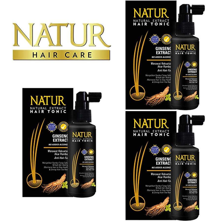 克服する最初気取らないNATUR ナトゥール 天然植物エキス配合 Hair Tonic ハーバルヘアトニック 90ml×3個セット Ginseng ジンセン [海外直商品]