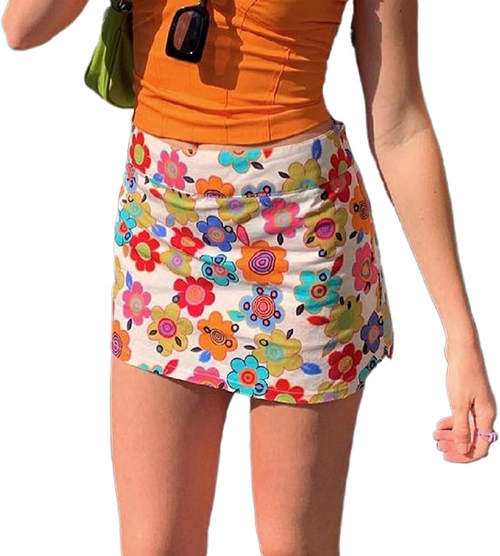 Y2K Paisley Floral Print High Waist Pleated Mini Skirt Women Colorful A-line Short Skirts 2021 E-Girls Streetwear