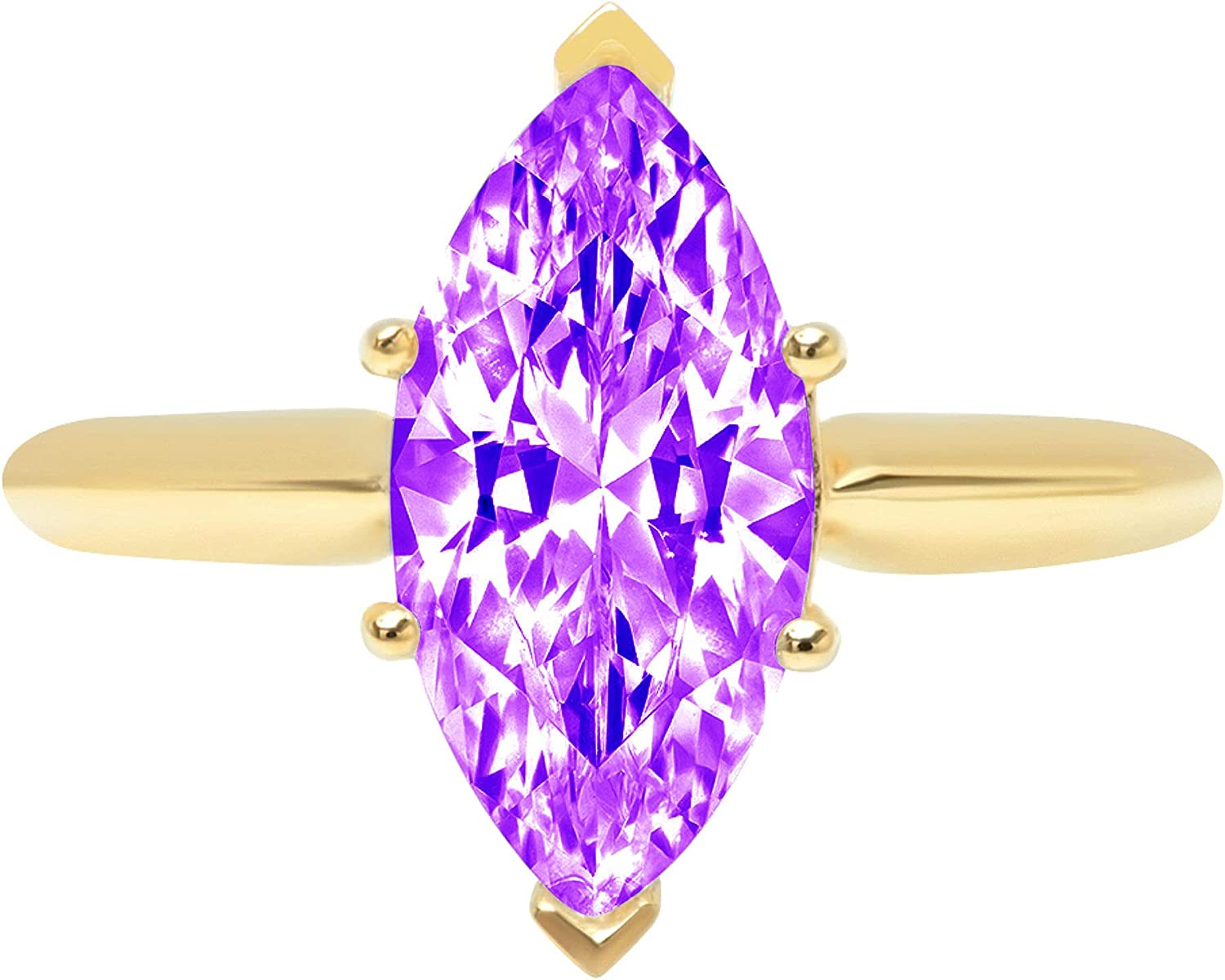 2.4ct Brilliant Marquise Cut Solitaire Natural Purple Amethyst Ideal VVS1 6-Prong Engagement Wedding Bridal Promise Anniversary Ring Solid 14k Yellow Gold for Women