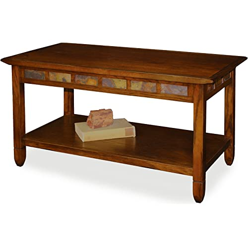 Amazon Com Rustic Slate Rectangular Coffee Table Rustic Oak Finish Furniture Decor