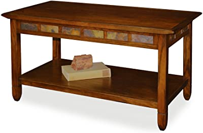 Rustic Slate Rectangular Coffee Table - Rustic Oak Finish