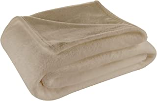 Cosy House Collection Throw Size Fleece Blanket – All Season, Lightweight & Plush Hypoallergenic - Microfiber Blankets for Bed, Couch or Travel - Tan