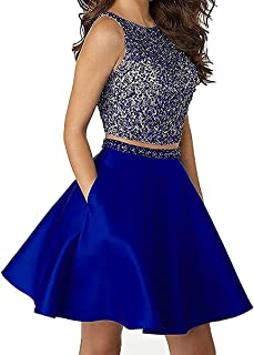 Round Neck Homecoming Prom Dress 2 Pieces Formal Party Ball Gown BRL43
