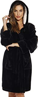 Hooded Velour Robe for Women with Sherpa Lined Hood