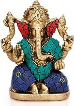 Handmade Brass God Ganesha Metal Statue Chaturbhuj Pose Ganesh Idol for Diwali Gifts