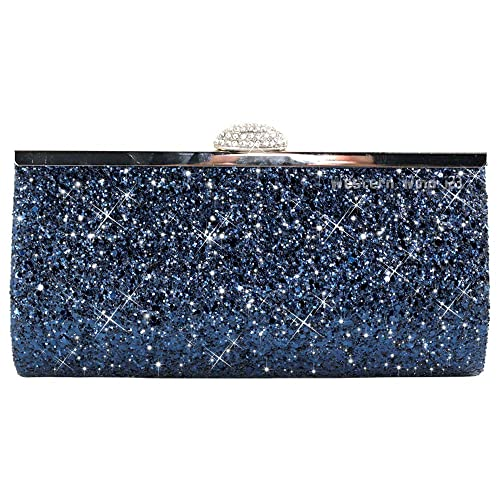 Wocharm Fashion Womens Glitter Clutch Bag Sparkly Silver Gold Black Evening  Bridal Prom Party Handbag Purse b091b7889368b