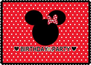 WOLADA 7x5ft Minnie Mouse Backdrop for Baby Birthday Party Photo Backdrop Cartoon Mouse Red Photography Background Flower and Heart Lovely Fairy Tale Photography Backdrop Party Decoration 11331