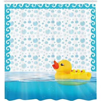 70 Inches Cute Yellow Squeak Ducky Toy Fun Bubble Bath Animal Kids Room Duckling Print Ambesonne Rubber Duck Shower Curtain Set Fabric Bathroom Decor with Hooks White Yellow sc/_23375