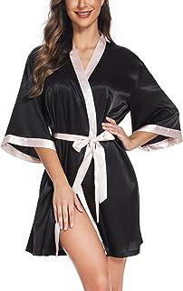 Women's Silk Robe Satin Kimono Style Bathrobe Short...