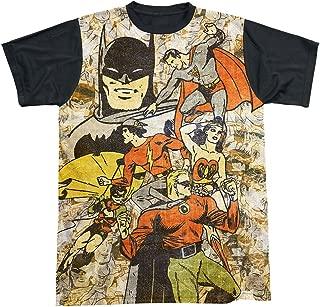 DC Comics Justice League Original Retro All Stars Adult Black Back T-Shirt Tee