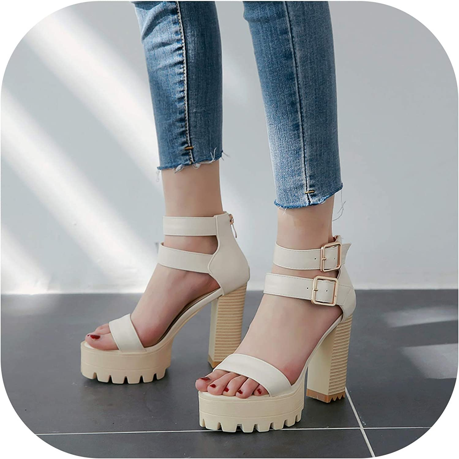 Summer Sandals for Women Double Buckle Thick high Heels Platform shoes