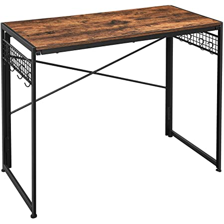 VASAGLE Computer Folding Desk, 39-Inch Writing Desk with 8 Hooks, Simple Small Desk, Study Workstation, No Tools Required for Home Office, Laptop and PC, Rustic Brown and Black ULWD42X