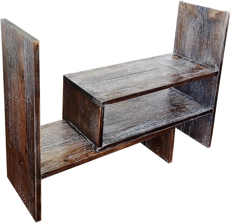 My Rustic Brown Shelf Bookcase,Torched Wood Adjustable Desktop Bookcase Office Organizer Shelf Rack