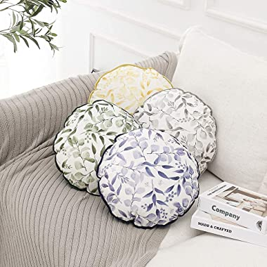 """NottingsonHome Small Round Porch Pillow 13"""" Velvet Green Botanical Decorative Floral Farmhouse Floor Cushions for Bed/Cou"""