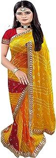 ساري نسائي يدوي راجاشتاني من الحرير الذهبي مع قطعة بلوزة