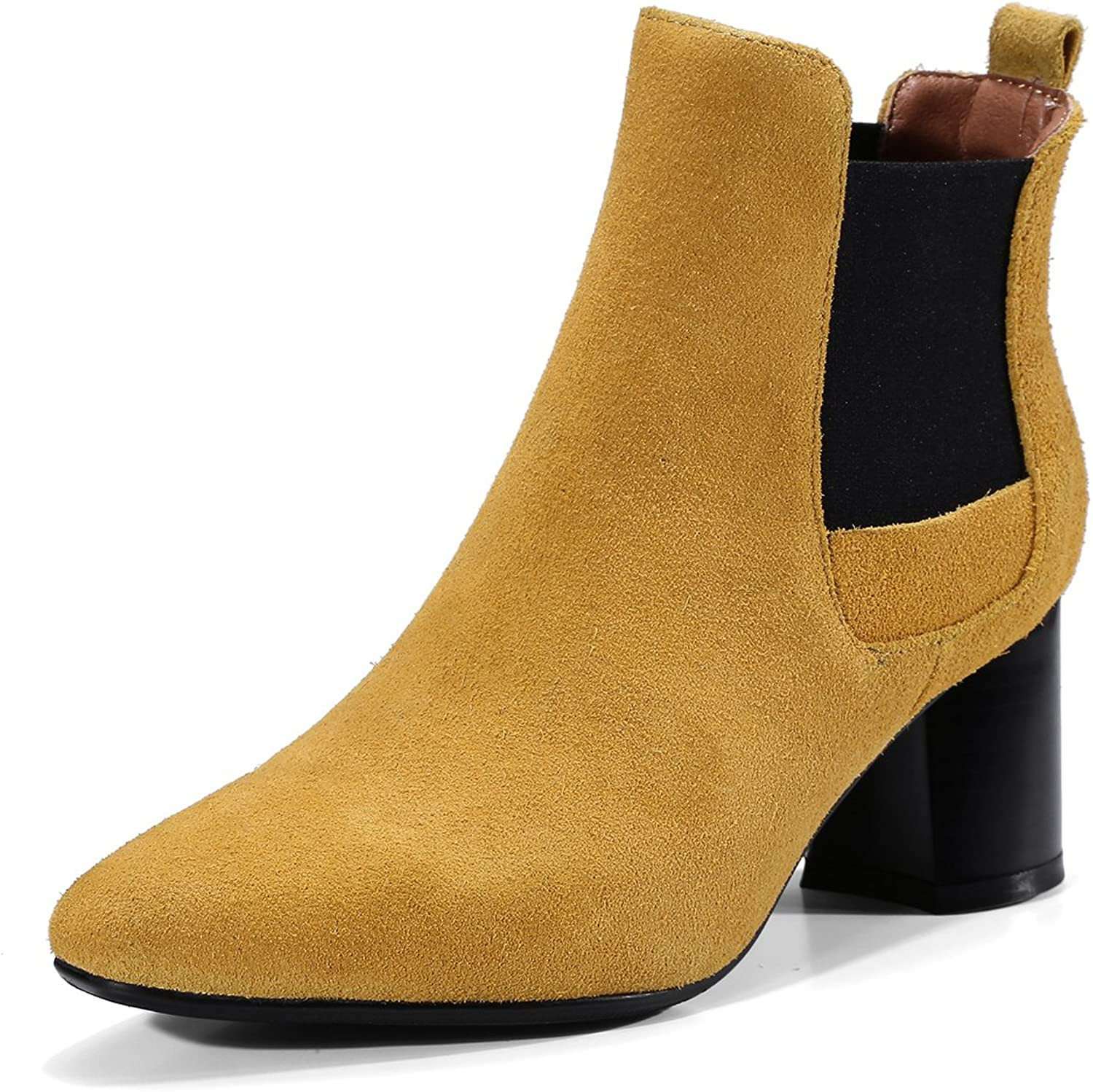 Rongzhi Womens Genuine Leather Chunky Heels Ankle Boots Pointed Toe Elastic Slip On Booties
