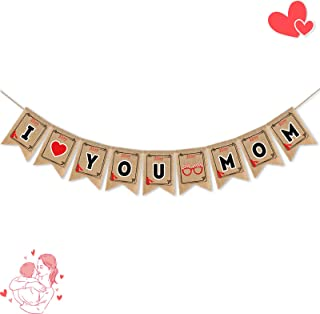Mothers Day Banner Decorations, I Love You Mom Banner Mothers Day Banners for Outdoor Indoor, Happy Mother's Day Decoratio...