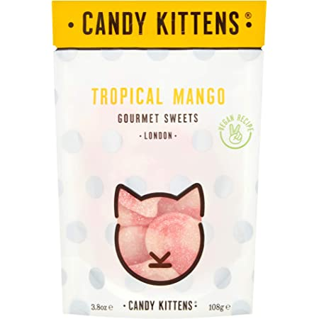 Candy Kittens Tropical Mango Vegan Sweets - Palm Oil Free, Natural Fruit Flavour Candy - Gummy Chewy Gourmet Sweets, 108g (Snacking Bag)