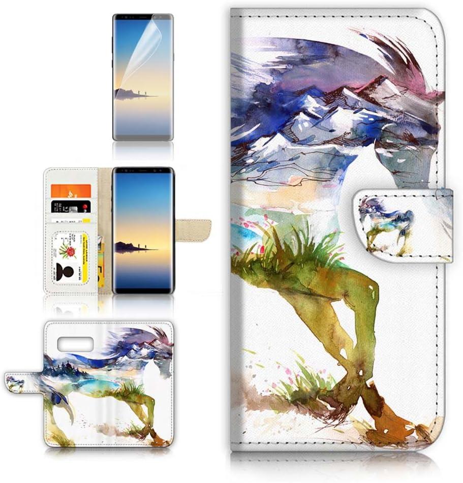 (for Samsung Galaxy S10e) Flip Wallet Case Cover & Screen Protector Bundle - A20275 Abstract Horse
