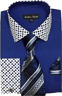 Men's French Cuff Dress Shirt w/Polka Dot Contrast Collar & Tie Hanky Set