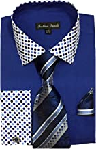 Fortino Landi Men's French Cuff Dress Shirt w/Polka Dot Contrast Collar & Tie Hanky Set