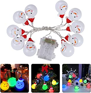 Litake Christmas Snowman String Lights, Santa Claus String Lights, 10 LEDs 3.78ft Battery Operated Colorful Cute String Li...