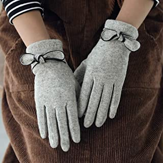 JCCOZ Touch Screen Gloves Pure Wool Gloves Men's Autumn and Winter Double Plus Velvet Thick Wool Knitted Gloves (Color : B)