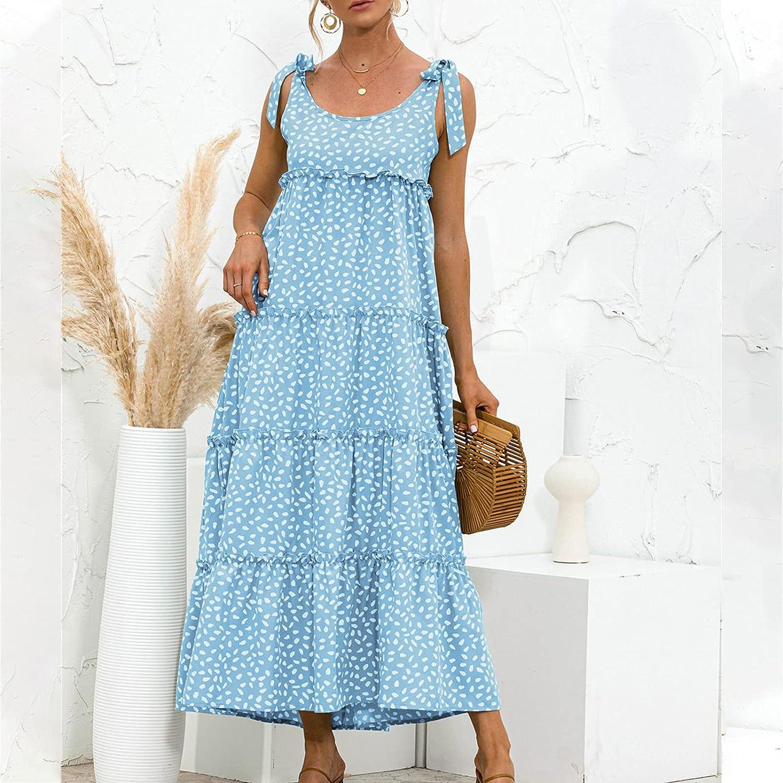 EZ Tuxedo Women's Casual Bohemian Floral Dress O Neck Sleeveless Ajustable Shoulder Strap Tiered Maxi Dress