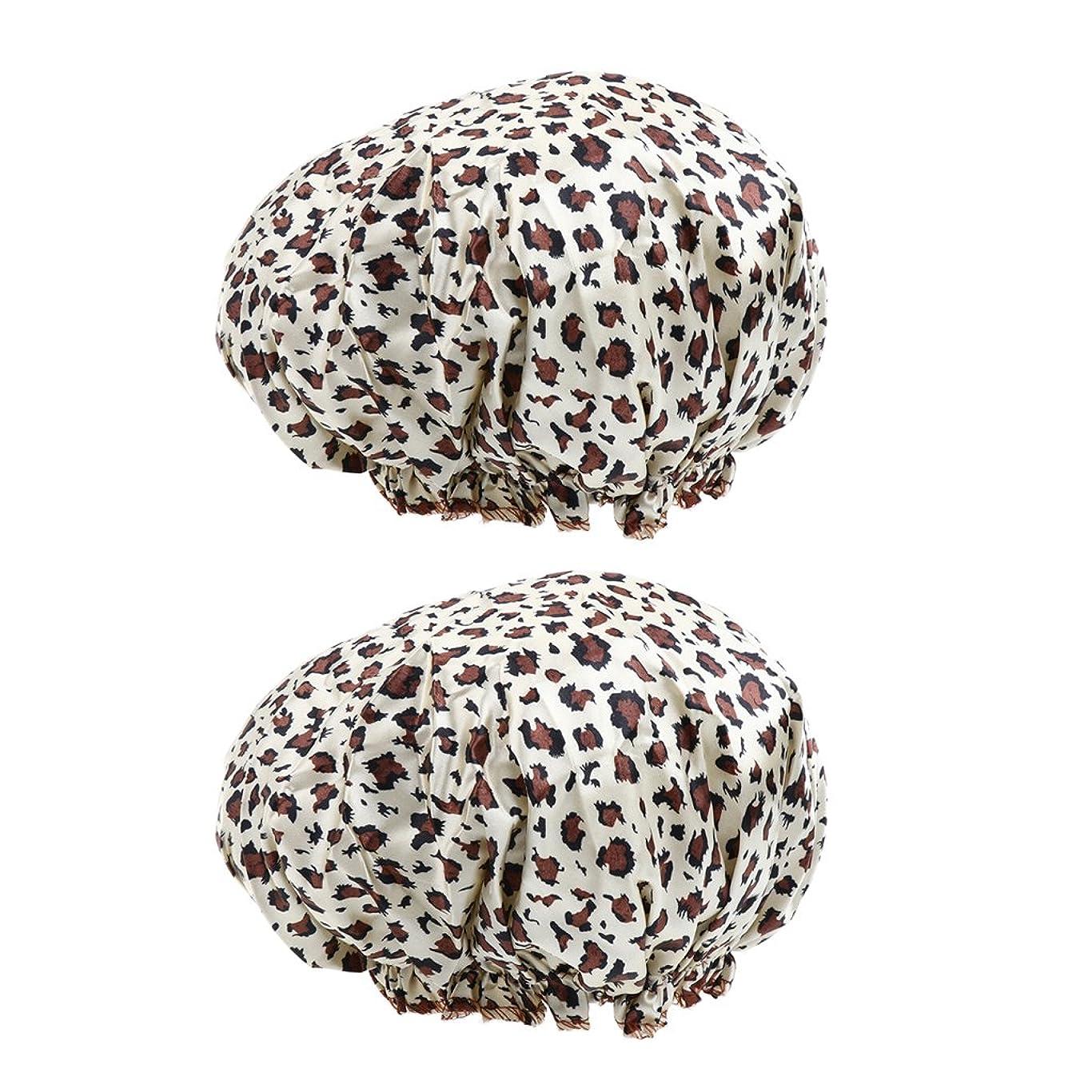 マイナス野な義務的Hellery 2個セット シャワーキャップ 防水帽 入浴キャップ バスキャップ 帽子 お風呂 シャワー用 全7色 - A