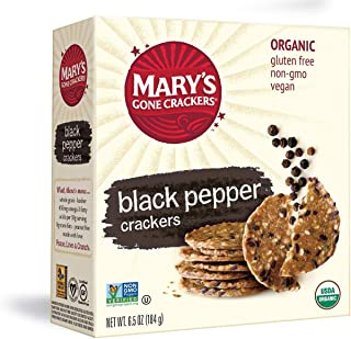 Mary's Gone Crackers Black Pepper Crackers, Organic Brown Rice, Flax & Sesame Seeds, Gluten Free, 6.5 Oz (Pack of 6)