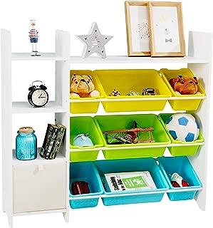 MallBest 4-Tier Kids' Toy Storage Organizer Shelf - 100% Soild Wood,Children's Storage Cabinet with 9 Plastic Bins and 1 Cloth Storage Box (White)