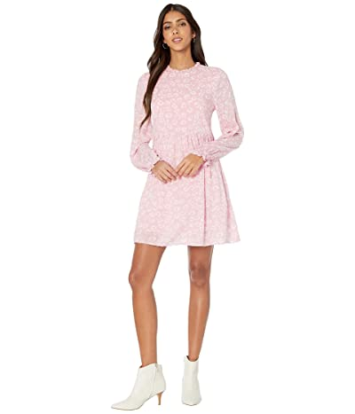 American Rose Isabel Mock Neck Floral Long Sleeve Dress (Mauve) Women