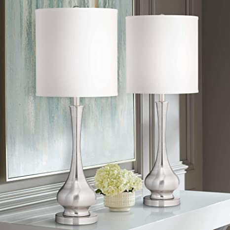 Modern Contemporary Tall Table Lamps Set Of 2 Brushed Nickel Gourd White Drum Shade Decor For Living Room Bedroom House Bedside Nightstand Home Office Reading Entryway Family Possini Euro Design Amazon Com