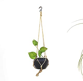 TRENDY HOME Home Indoor/Outdoor Galvanized Black Metal Balcony Hanging Planter with Jute Rope/String | Decorative Pot/Home...