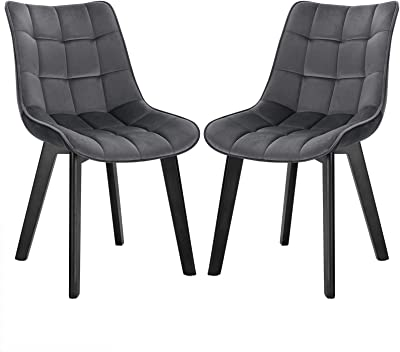 Eugad 0654by 2 Dining Room Chairs Set Of 2 Living Room Chairs With Backrest Upholstered Chair Kitchen Chair Soft Velvet And Wood For Dining Room And Living Room Dark Grey Amazon De Kuche