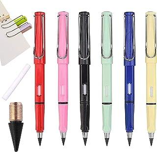 URXX 6Pcs Unlimited Writing Eternal Pencil Magic No Ink Pencil, Portable Everlasting Pencil Reusable Erasable, HB Inkless ...
