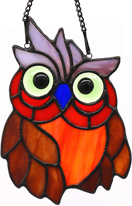 HAOSUM Owl Bird Stained Glass Window × Max 48% OFF Hanging 5.5 Suncatcher Store