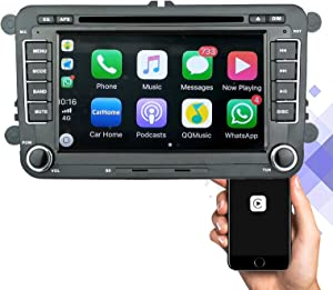 Apple Carplay Radio & Android Auto Radio, 7 Inch Double Din Car Stereo with Apple Carplay, Bluetooch, HD Touchscreen, Mirror Link, Steering Wheel Control, MP5 Player for VW & Skoda & Seat
