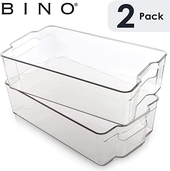 BINO Stackable Plastic Organizer Storage Bins X Large 2 Pack Pantry Organization And Storage Refrigerator Organizer Bins Fridge Organizer Freezer Organizer Pantry Organizer Pantry Storage