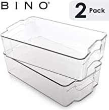 BINO Stackable Plastic Organizer Storage Bins, X-Large - 2 Pack - Pantry Organization and Storage Refrigerator Organizer Bins Fridge Organizer Freezer Organizer Pantry Organizer Pantry Storage