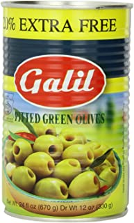 Galil Green Pitted Olive + 20% Extra Value Size, 24-Ounce Cans (Pack of 6)