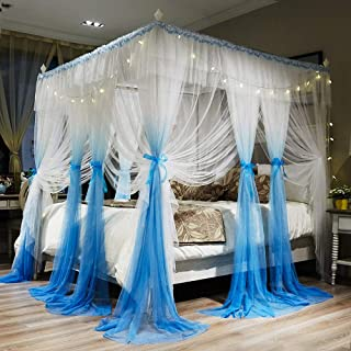 Joyreap 4 Corners Post Canopy Bed Curtains for Girls - Blue & White Cozy Drape Netting - 4 Openings Mosquito Net - Cute Princess Style Bedroom Decoration Accessories (Ocean Blue,86