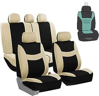FH Group FB030115 Light & Breezy Flat Cloth Full Set Car Seat Covers Set, Airbag & Split Ready w. Gift, Beige/Black- Fit Most Car, Truck, SUV, or Van