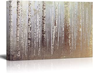 wall26 Canvas Wall Art - Birch Trees Forest on a Foggy Day - Giclee Print Gallery Wrap Modern Home Decor Ready to Hang - 32x48 inches