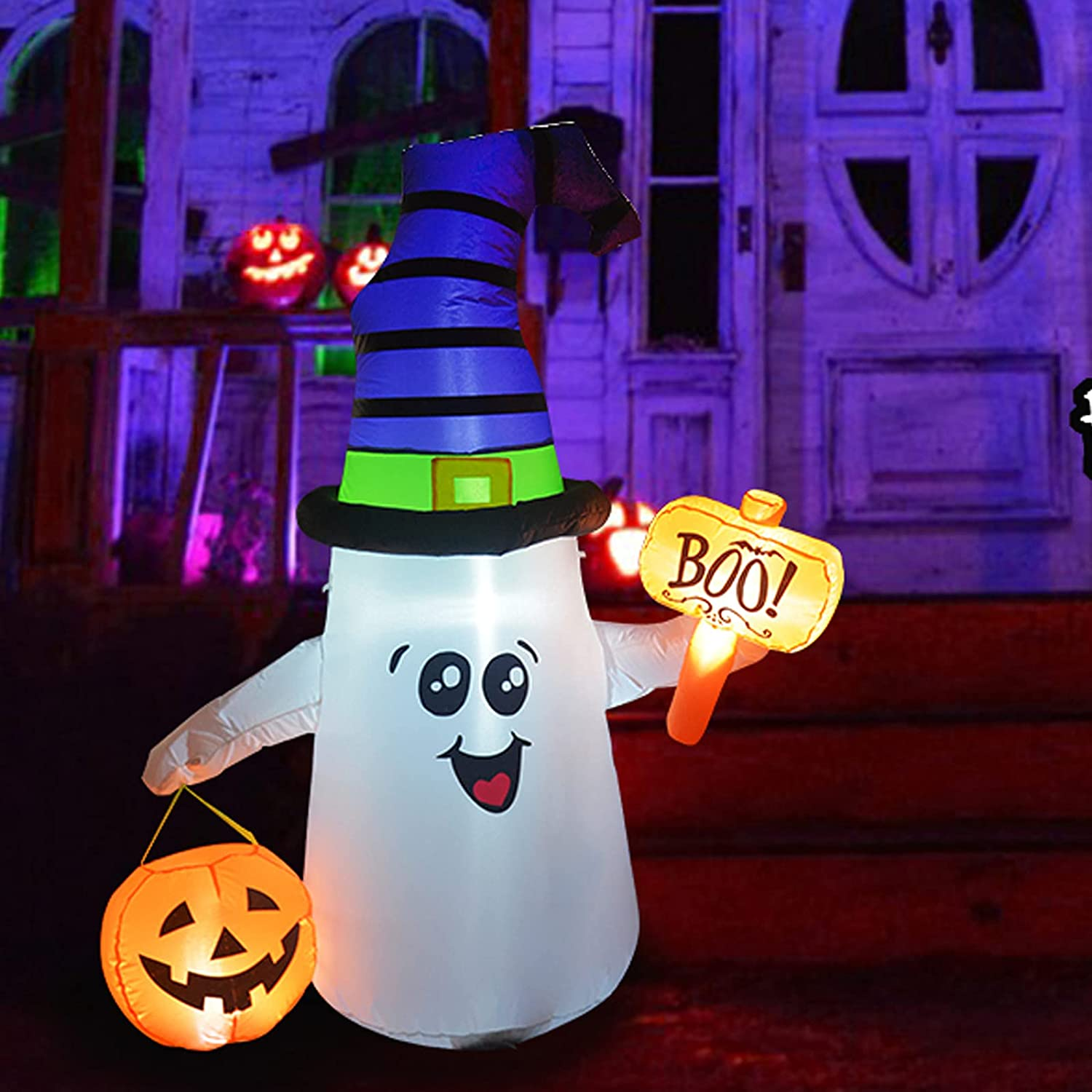 GOOSH 5 FT Halloween Inflatable Outdoor Cute Ghost with Dunces Cap, Blow Up Yard Decoration Clearance with LED Lights Built-in for Holiday/Party/Yard/Garden
