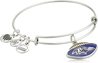 Women's Color Infusion Baltimore Ravens Football II EWB Bracelet, Rafaelian Silver, Expandable