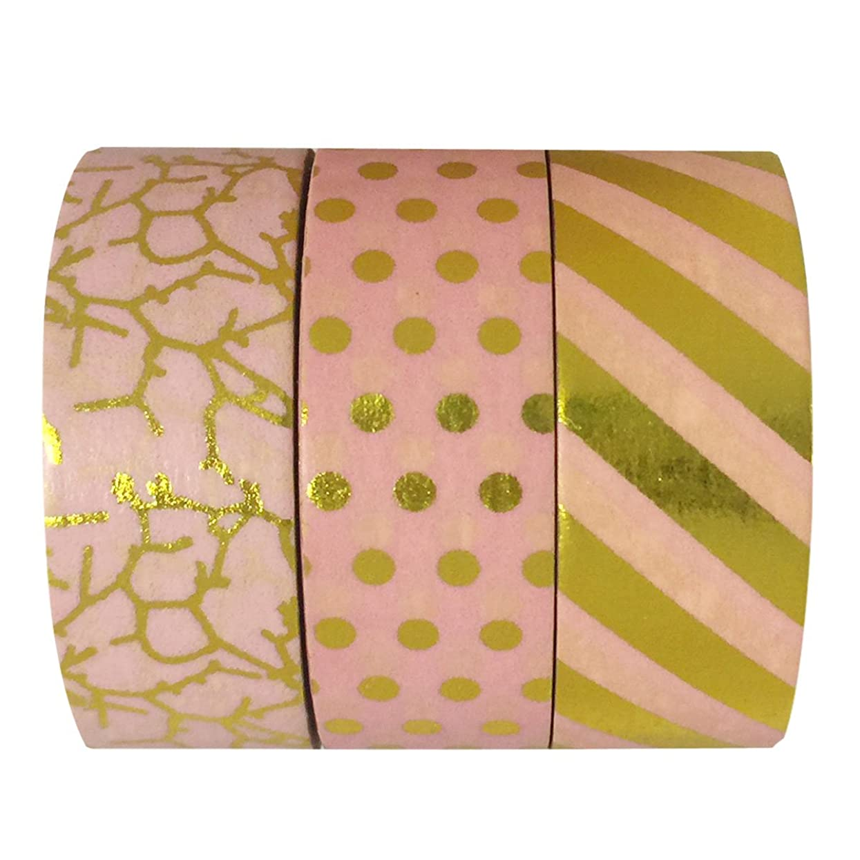 allydrew A70118 10M L x 15mm W Set of 3 Washi Masking Tape, Fun with Pink
