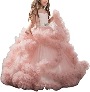 Stunning V-Back Luxury Pageant Tulle Ball Gowns for Girls 2-12 Year Old